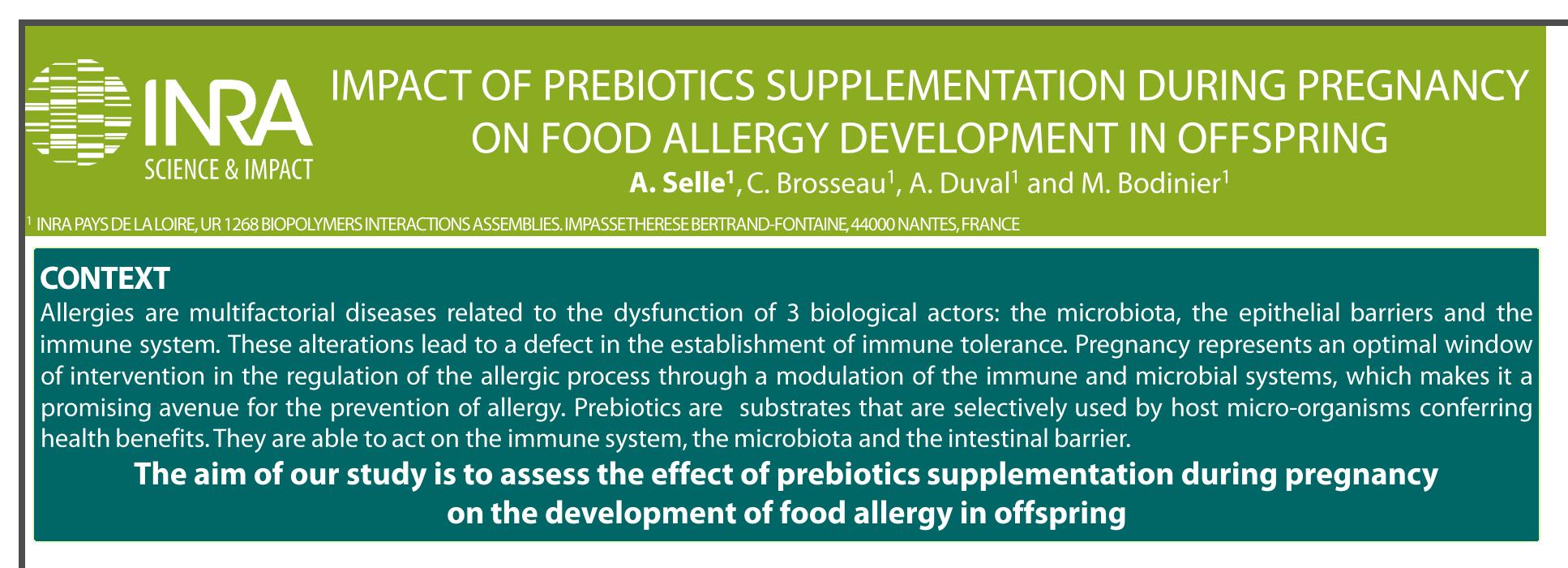 Impact of prebiotics supplementation during pregnancy on food allergy development in offspring