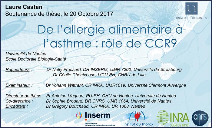 De l'allergie alimentaire à l'asthme : rôle de CCR9