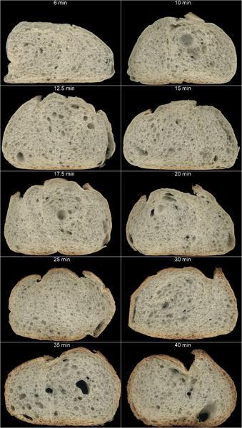 pains ayant subi différentes durées de cuisson.