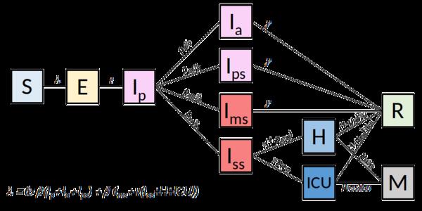 """Schéma de modélisation avec différents états I (""""infecté"""")"""